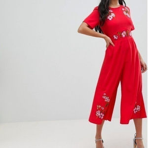 ASOS Petite Embroidered Tea Jumpsuit